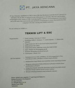 INFO LOWONGAN KERJA PT. JAYA KENCANA JAKARTA