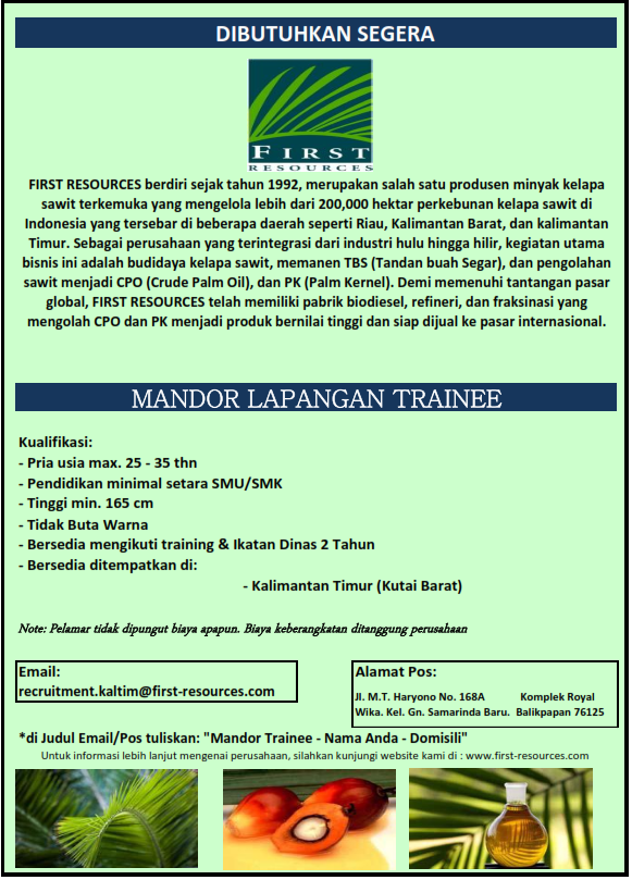 Lowongan Mandor Trainer First Resources